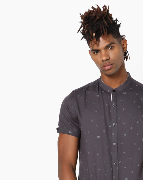 Printed Shirt With Mandarin Collar By AJIO ( Charcoal )