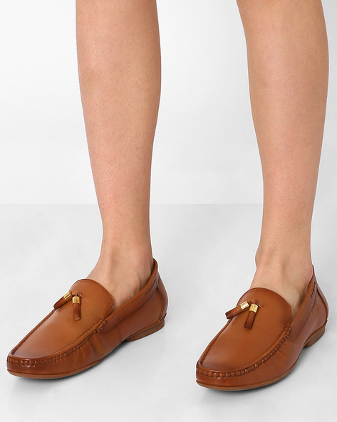 Genuine Leather Tasselled Loafers By VALENTINO ( Brown )