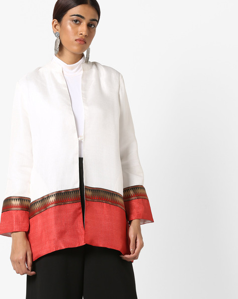 Silk Jacket With Mandarin Collar By AJIO ( Offwhite )