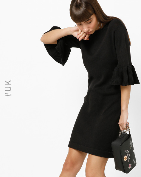 Sweater Dress With Flared Sleeves By BRAVE SOUL ( Black )
