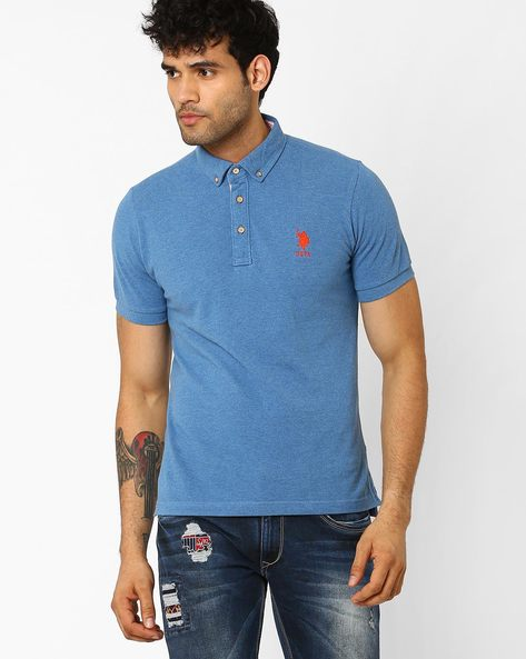 Cotton Slim Fit Polo T-shirt By US POLO ( Rose )