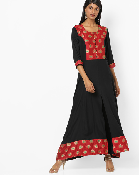 Printed A-line Kurta With Front-Slit Hem By Shree ( Black )
