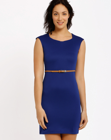Bodycon Dress With Belt By Annabelle By Pantaloons ( Blue )