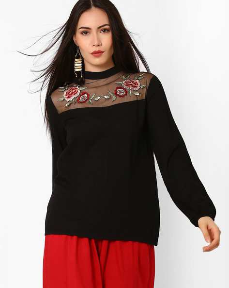 Woven Top With Floral Embroidery By Oxolloxo ( Black )