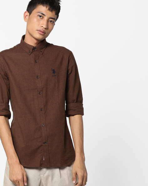 Cotton Shirt With Button-Down Collar By US POLO ( Brown )