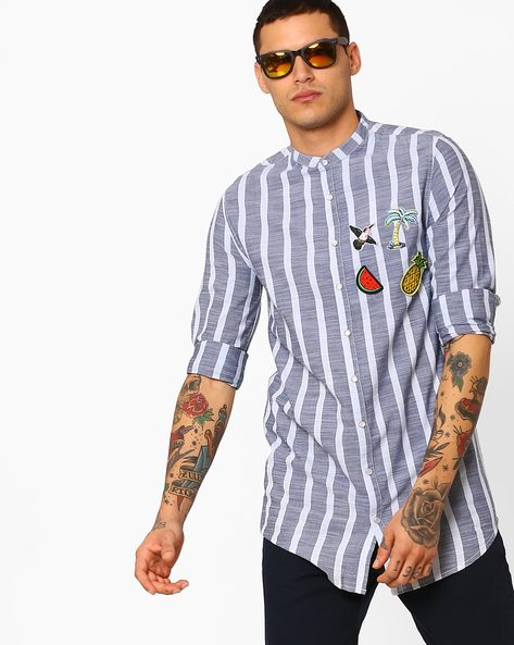 Striped Longline Slim Shirt By ADAMO LONDON ( Multi )
