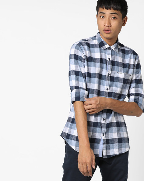 Checked Shirt With Patch Pocket By Pepe Jeans ( Blue )