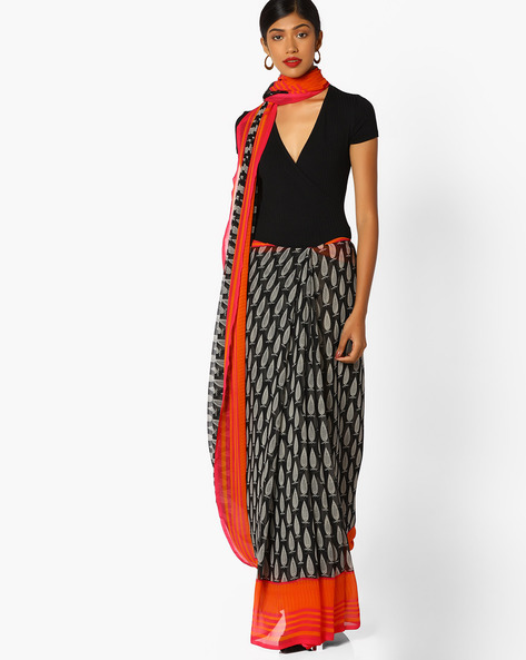 Printed Saree With Contrast Border By Arissa ( Black )