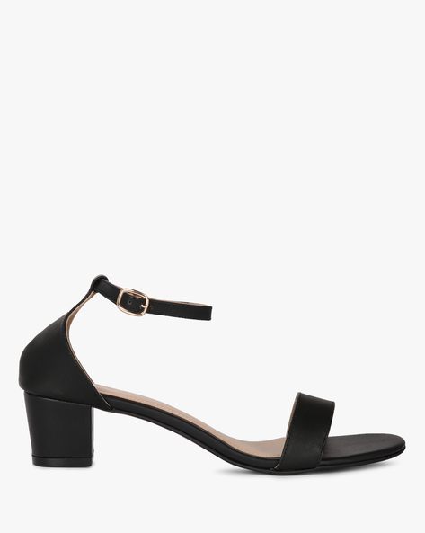 Block Heels With Buckle Closure By MUAZ ( Black )