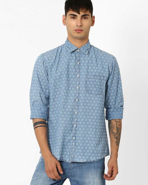 Printed Slim Fit Shirt By CRIMSOUNE CLUB ( Ltgrey )