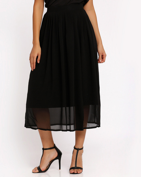 Pleated Midi Skirt By Oxolloxo ( Black )