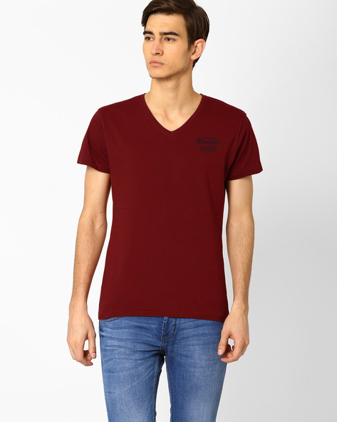 V-neck Slim Fit T-shirt By WRANGLER ( Red )