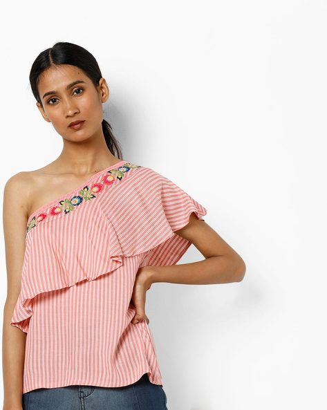 One Shoulder Top With Ruffle Panel By AJIO ( Pink )