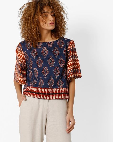 Printed Top With Kimono Sleeves By Biba ( Blue )