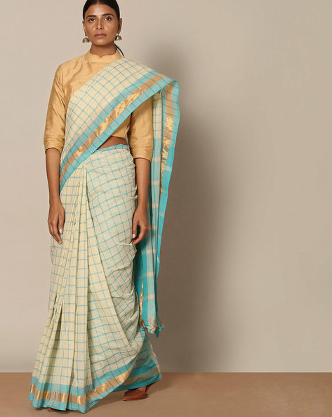 South Cotton Checked Saree With Zari  Border By Indie Picks ( Blue )