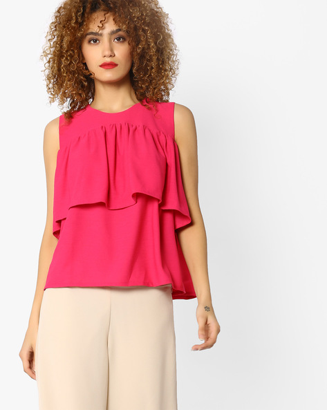 Sleeveless Tiered Top By AJIO ( Coral )
