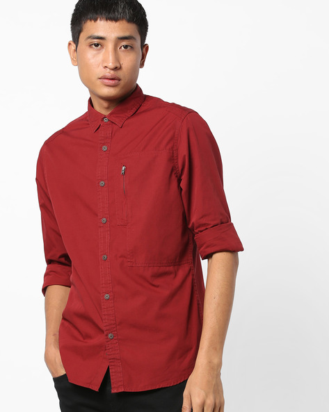 Classic Shirt With Zipped Pocket By AJIO ( Maroon )