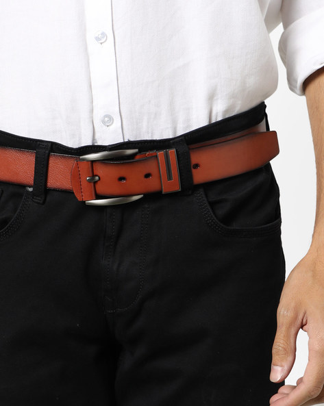 Genuine Leather Textured Belt By Buckle Up ( Tan ) - 460120187002