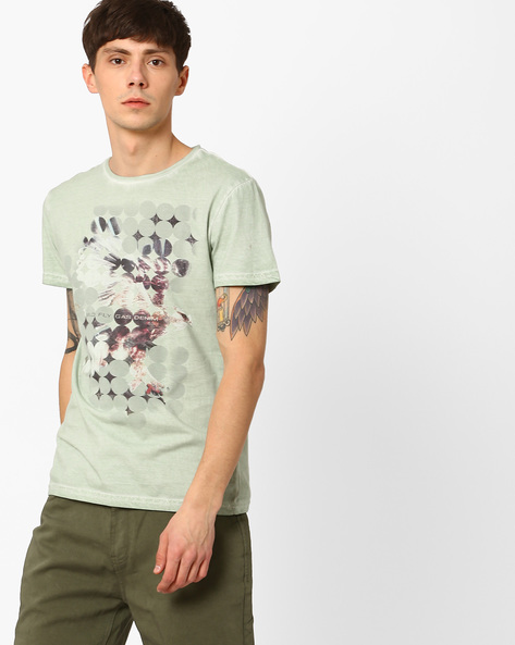 Graphic Print Cold-Dyed T-shirt By GAS ( 3618 )