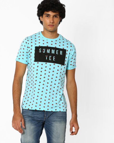 Regular Fit Graphic Print Crew-Neck T-shirt By Garcon ( Lightblue )