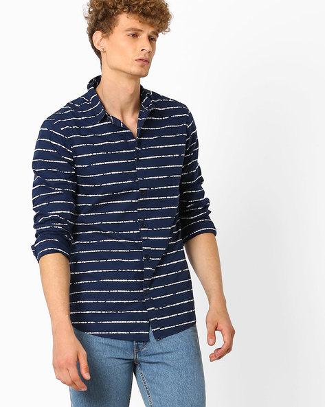 Printed Slim Fit Shirt By AJIO ( Navy )