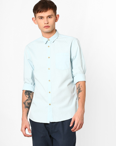 Slim Fit Shirt With Curved Hem By Jack & Jones ( Aqua )