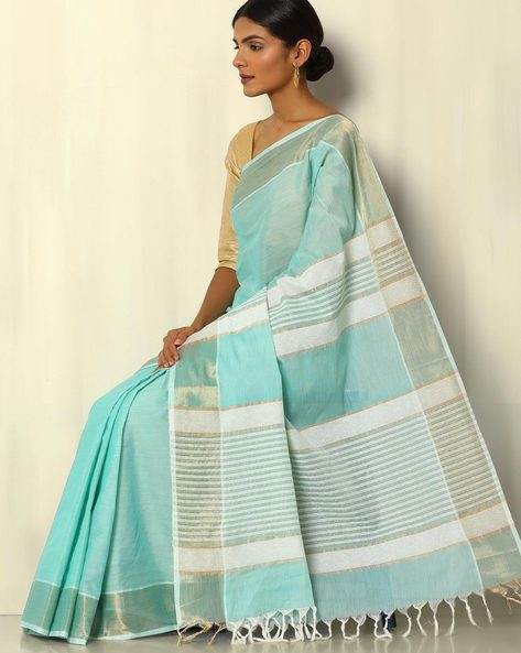 South Cotton Saree With Zari Border And Striped Pallu By Indie Picks ( Green )