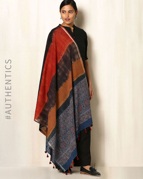 Ajrak Handblock Print Shibori Cotton Dupatta By Indie Picks ( Multi ) - 460045141001