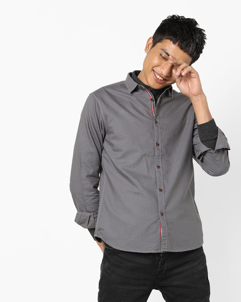Micro Dot Print Slim Fit Shirt By AJIO ( Grey )