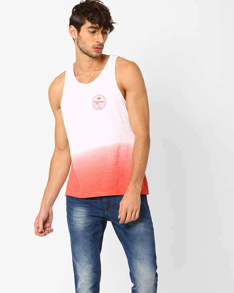 HD Ombre Print Fashion Vest By Garcon ( Red )