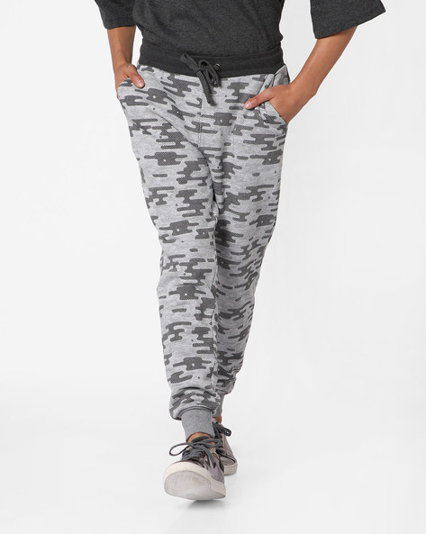 Printed Joggers With Drawstring Fastening By Fort Collins ( Greymelange )