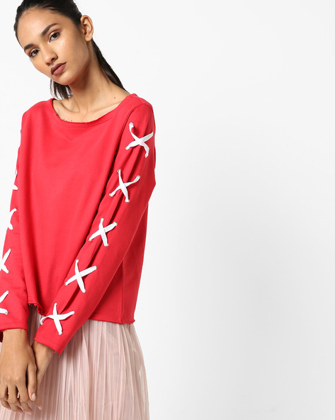 Heathered Sweatshirt With Tie-Up Sleeves By AJIO ( Red )