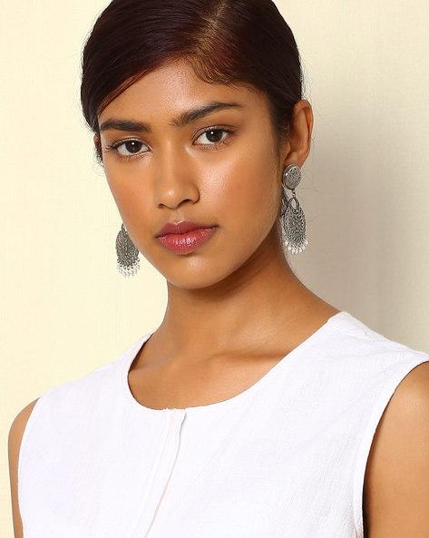 Statement Oxidised Drop-Earrings By Indie Picks ( Silver ) - 460046693001