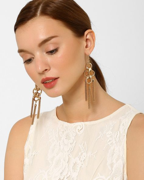 Statement Drop-Earrings With Tassels By AJIO ( Gold )
