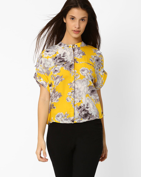 Floral Print Top With Concealed Placket By FIG ( Mustard )