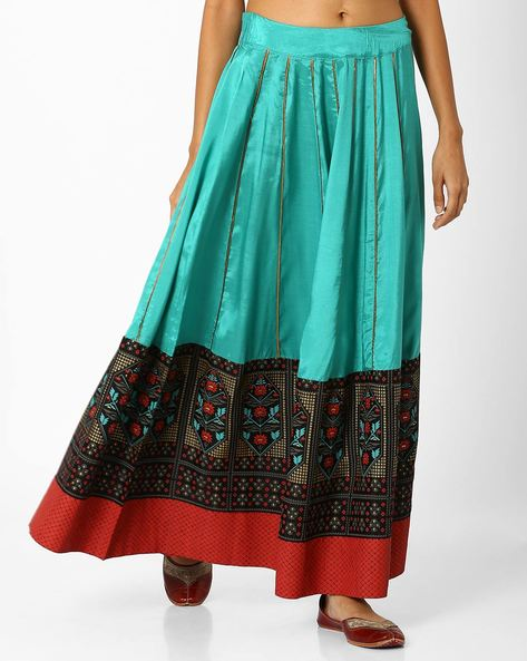 Maxi Skirt With Tie-Up By W ( Green )