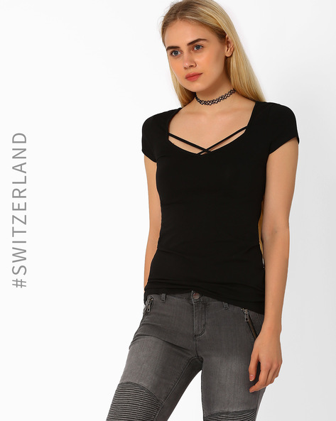 Top With Criss-Cross Straps By TALLY WEiJL ( Black )
