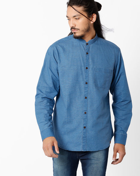 Regular Fit Shirt With Mandarin Collar By INDIAN TERRAIN ( Cobalt )
