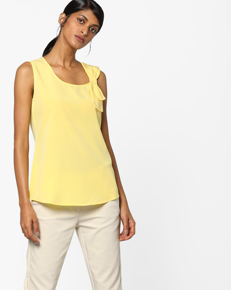 Sleeveless Top With Layered Bow By AJIO ( Yellow )