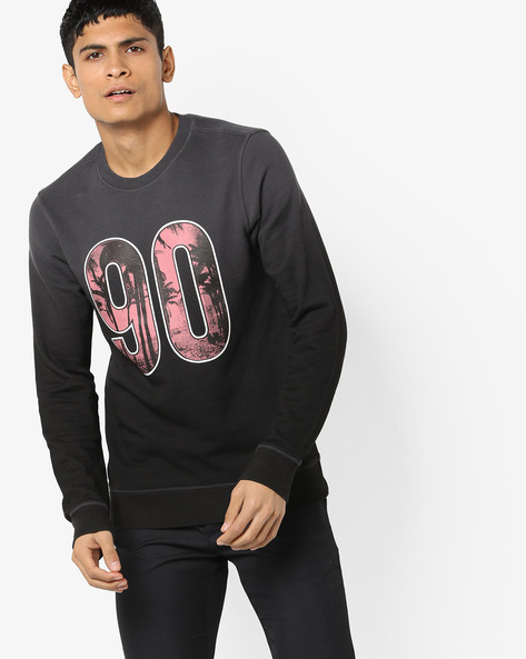 Printed Crew-Neck Sweatshirt By Jack & Jones ( Black )