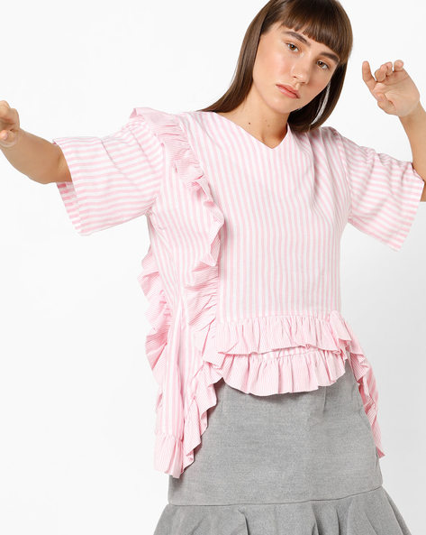 Striped V-neck Top With Ruffle Panels By AJIO ( Pink )