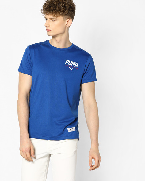 Crew-Neck T-shirt With Branded Embroidery By Puma ( Blue )