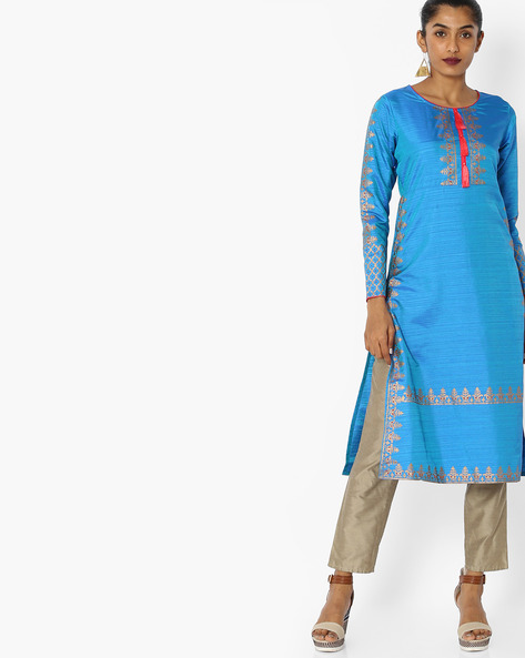 Printed Kurta With Tassels By Indian Ink ( Blue )