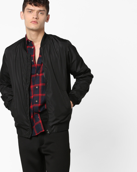 Zip-Front Bomber Jacket By DEEZENO ( Black )