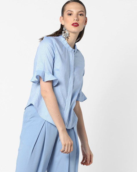 Ditsy Print Cotton Shirt With Flared Sleeves By AJIO ( Blue )