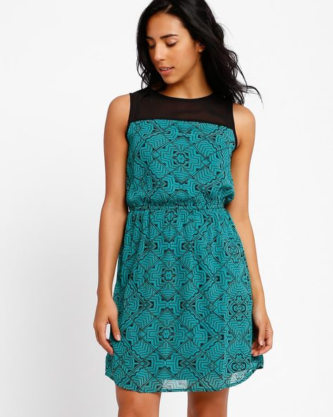 Printed Tailored Dress By Oxolloxo ( Green )