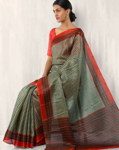 Geometric Print Art Silk Saree By Rudrakaashe-MSU ( Green )