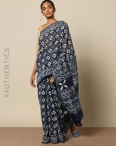 Handblock Indigo Print Chanderi Saree With Zari By Indie Picks ( Indigo ) - 460146830001