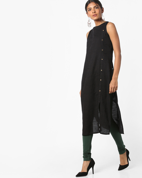 Sleeveless Straight Kurta With Front-Slit Hem By AVAASA MIX N' MATCH ( Black )