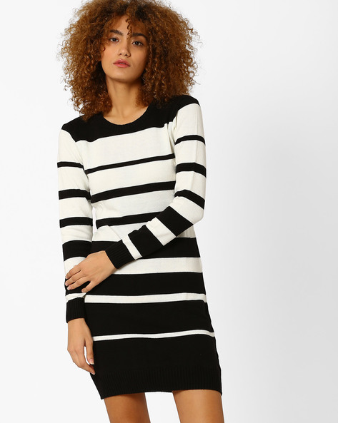 Striped Sweater Dress By Annabelle By Pantaloons ( Black )